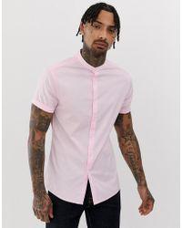 ASOS - Skinny Fit Grandad Collar Shirt In Pink - Lyst