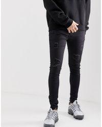 0f502c1934 Sixth June Tall Super Skinny Jeans In Black With Red Stripe in Black for Men  - Lyst