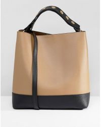 Warehouse - Bucket Bag With Popper Strap In Tan - Lyst