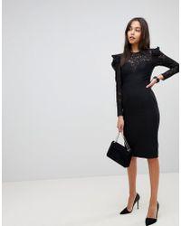 ASOS - Asos Lace Top Midi Pencil Dress - Lyst