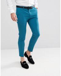 PLUS Skinny Crop Smart Trousers In Teal Cord - Teal Asos j23DtO54i