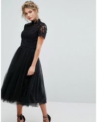 Chi Chi London - High Neck Lace Midi Dress With Tulle Skirt In Black - Lyst