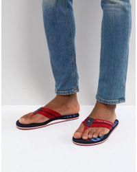 Tommy Hilfiger - Bold Stripe Logo Webbing Flip Flops In Red - Lyst
