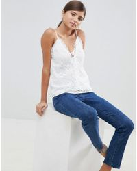 Fashion Union - Cami Top In Broderie - Lyst