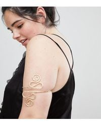 ASOS - Asos Design Curve Exclusive Arm Cuff With Swirl Design In Gold - Lyst