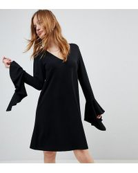 ASOS - Frill Cuff Mini Shift Dress In Ponte - Lyst