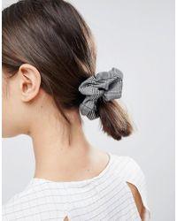 ASOS - Design Check Scrunchie Hair Tie - Lyst