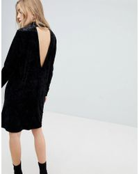 Pieces - Velvet High Neck Dress With Deep V Back - Lyst
