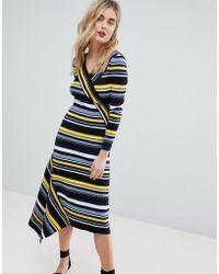 Warehouse - Stripe Asymmetric Hem Knitted Midi Dress - Lyst
