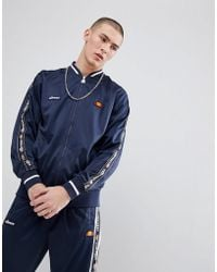 Ellesse - Jacket With Sleeve Taping In Navy - Lyst