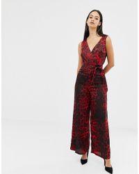 UNIQUE21 - Red Leopard Print V Neck Jumpsuit With Tie Belt - Lyst
