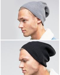 ASOS - Slouchy Beanie 2 Pack In Black And Grey Save - Lyst