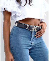 ASOS - Leather Double Buckle Western Waist And Hip Belt - Lyst