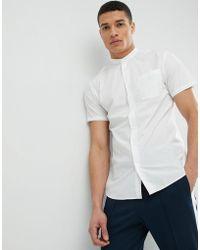 SELECTED - Short Sleeve Grandad Collar Shirt - Lyst
