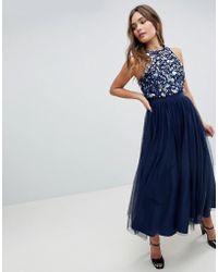 e8177122eedb ASOS - Asos Embellished Cluster Crop Top Tulle Midi Dress - Lyst