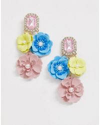 ASOS - Earrings With Jewel Stud And Painted Colourful Floral Drop - Lyst