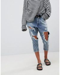 One Teaspoon - Kingpins Cropped Boyfriend Jean With Extreme Distressing - Lyst