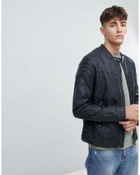 Esprit - Faux Leather Biker Jacket With Stitch Detail - Lyst