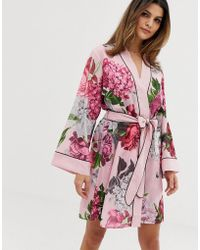 28a84f590c69b7 Ted Baker - B By Palace Gardens Floral Print Kimono In Light Pink - Lyst