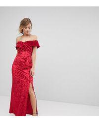 True Violet - Velvet Cross Front Bardot Maxi Dress With Split - Lyst