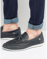 Red Tape - Woven Tassel Loafers In Blue Leather - Lyst