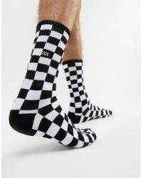 Vans - Checkerboard 1 Pack Socks In Black Vn0a3h3ohu01 - Lyst
