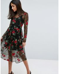 Warehouse - Premium Floral Embroidered Lace Dress - Lyst