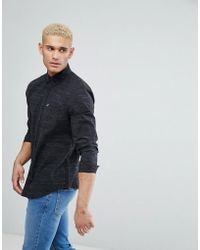 Hollister | Logo Pocket Textured Slim Fit Shirt In Black | Lyst