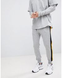 Bershka - Jersey Joggers In Gray With Side Stripe - Lyst