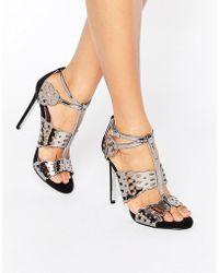 Carvela Kurt Geiger | Give Gunmetal Metallic Heeled Sandals | Lyst