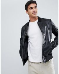 Barneys Originals - Textured Real Leather Jacket - Lyst