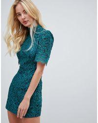 Fashion Union - High Neck Lace Dress - Lyst