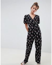 Daisy Street - Jumpsuit With Kimono Sleeves In Dark Floral Print - Lyst