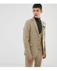 ASOS - Tall Wedding Skinny Suit Jacket In Stone Micro Check - Lyst