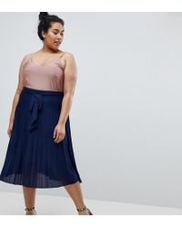 ASOS - Pleated Midi Skirt With Belt - Lyst