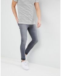 ASOS - Super Spray On Jeans In Washed Grey - Lyst