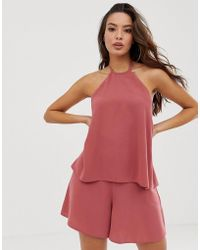 ASOS - Halter Double Layer Playsuit With Tie Back - Lyst