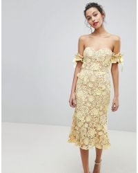Jarlo - All Over Cutwork Lace Bardot Midi Dress With Tie Sleeve Detail - Lyst