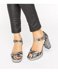 ASOS - Hummingbird Wide Fit Glitter Heeled Sandals - Lyst