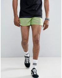 ASOS - Asos Slim Shorter Runner Shorts With Neon Cut & Sew - Lyst