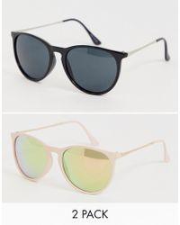 0533ce901 ASOS 2 Pack Skinny Keyhole Retro Sunglasses Clear & Plain Tort - Lyst