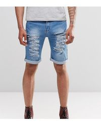 Liquor N Poker - Liquor & Poker Slim Extreme Rips Denim Shorts In Stonewash Blue - Lyst