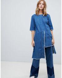 WÅVEN - Dita Open Back Asymmetric Hem Denim Dress - Lyst