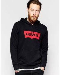 Levi's - Levi's Hooded Sweatshirt Batwing Logo In Black - Lyst