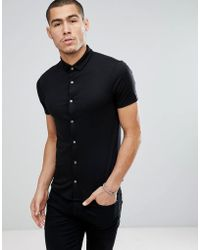 Emporio Armani   Slim Fit Mercerised Short Sleeve Shirt In Black   Lyst