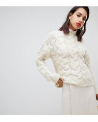 Mango - Oversized Chunky Cable Knitted Sweater In Light Beige - Lyst