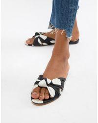 Mango - Knot Slip On Sandal In Mono Polka Dot - Lyst
