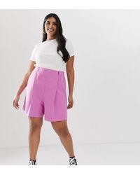 ASOS - Asos Design Curve Mom Shorts In Pink - Lyst