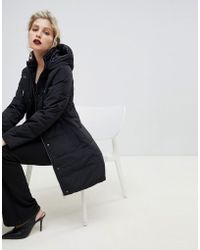 Oasis - Longline Padded Jacket In Black - Lyst