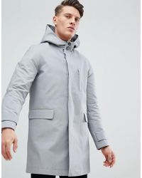 ASOS - Hooded Trench Coat With Shower Resistance In Gray - Lyst